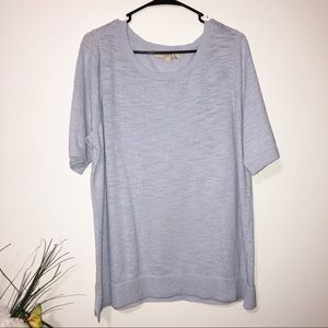 LOFT powder blue thick knit short sleeve top XXL